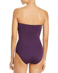 Carmen Marc Valvo - Purple Twist Bandeau One Piece Swimsuit - Lyst