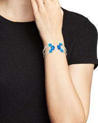 Ippolita - Blue Sterling Silver Rock Candy® Wonderland Mixed Doublet Open Wire Hinged Bangle In Island - Lyst