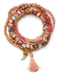 Aqua - Multicolor Beaded Tonal Blush Bracelets - Lyst