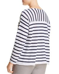 Eileen Fisher - White Mixed Stripe Top - Lyst