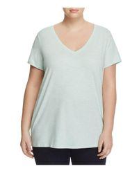 Eileen Fisher   Blue V-neck Short Sleeve Tee   Lyst