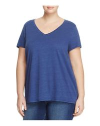 Eileen Fisher | Blue V-neck Short Sleeve Tee | Lyst