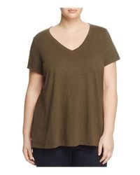 Eileen Fisher | Green V-neck Short Sleeve Tee | Lyst