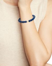 Aqua - Blue Beaded Stretch Bracelet In Gold Tone-plated Sterling Silver - Lyst
