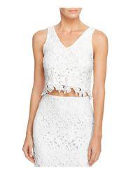 Aqua | White Lace Crop Top | Lyst