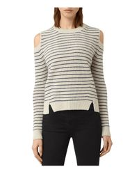 AllSaints | White Mull Cold Shoulder Stripe Sweater | Lyst