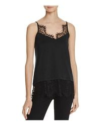 French Connection   Black Swift Drape Lace-trimmed Camisole Top   Lyst