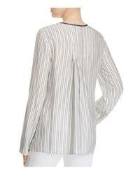 B Collection By Bobeau - Gray Cristy Pleat Back Stripe Blouse - Lyst