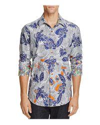 Robert Graham - Blue Coy Floral Print Classic Fit Button-down Shirt for Men - Lyst