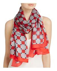 Armani | Red Geometric Print Silk Scarf | Lyst