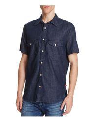 7 For All Mankind | Blue Denim Regular Fit Button-down Shirt for Men | Lyst