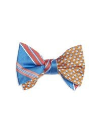 Brooks Brothers | Yellow Double Sided Stripe/hat Self Tie Bow Tie for Men | Lyst