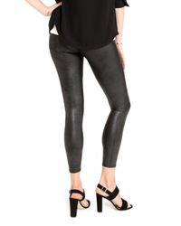 Spanx - Black Cropped Faux Leather Leggings - Lyst