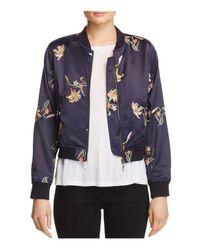 Aqua | Blue Embroidered Floral Bomber Jacket | Lyst