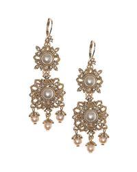 Marchesa   Metallic Double Drop Earrings   Lyst
