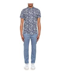 Ted Baker - Blue Leaf And Bird Printed Regular Fit Button-down Shirt for Men - Lyst