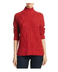 Sanctuary | Red Mock Neck Cable Knit Sweater | Lyst