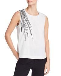 Donna Karan - White Embellished Sleeveless Top - Lyst
