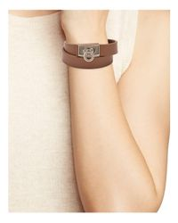 Ferragamo - Multicolor Ferragamo Gancini Leather Double Wrap Bracelet - Lyst