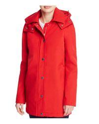 Calvin Klein | Red Hooded Rain Coat | Lyst