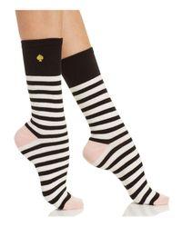 Kate Spade | Black Saturday Stripe Crew Socks | Lyst