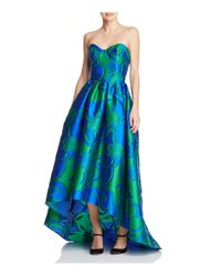 Paule Ka | Blue Strapless High/low Gown | Lyst