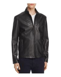 Cole Haan | Black Lambskin Leather Stand Collar Jacket | Lyst