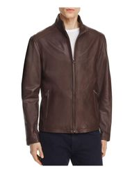 Cole Haan | Brown Lambskin Leather Stand Collar Jacket for Men | Lyst