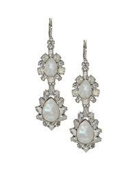 Marchesa - Metallic Double Drop Statement Earrings - Lyst