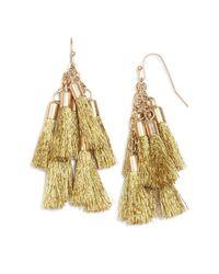 Aqua - Metallic Katie Multi Tassel Drop Earrings - Lyst