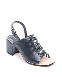 Bernardo | Blue Sansa Strappy Metallic Slingback Sandals | Lyst