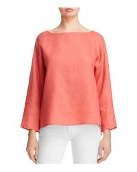 Eileen Fisher | Pink Organic Linen Boat Neck Top | Lyst
