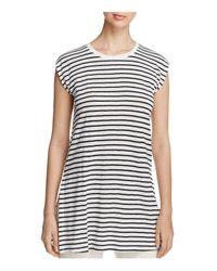 Eileen Fisher   Black Striped Organic Linen Round Neck Tunic   Lyst