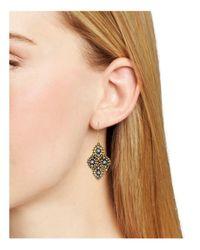 Miguel Ases - Metallic Beaded Four Leaf Drop Earrings - Lyst