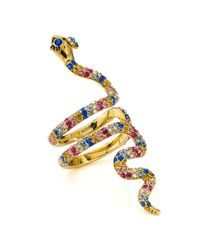 Kate Spade - Multicolor Pavé Snake Cocktail Ring - Lyst