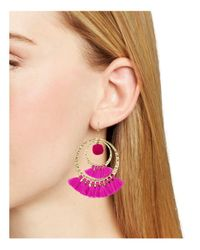 Aqua - Pink Lauren Pom-pom And Tassel Drop Earrings - Lyst