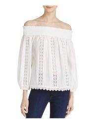 Aqua - White Crochet Inset Off-the-shoulder Top - Lyst