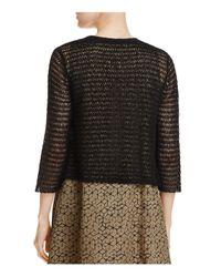 Eileen Fisher | Black Open Knit Crop Cardigan | Lyst
