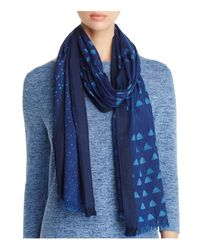 Eileen Fisher | Blue Geometric Print Cotton Scarf | Lyst