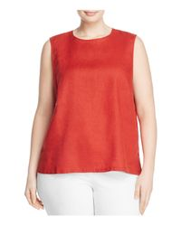 Eileen Fisher - Red Round Neck Linen Tank - Lyst