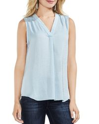 Vince Camuto - Blue Textured V-neck Top - Lyst