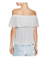 French Connection - Gray Polly Plains Off-the-shoulder Top - Lyst