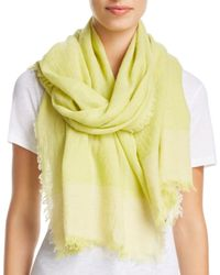 Eileen Fisher - Yellow Color Block Gauze Scarf - Lyst