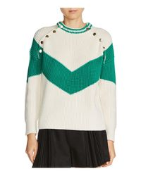 Maje - Green Mariana Color Block Sweater - Lyst