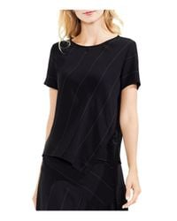 Vince Camuto - Black Wide Chalk-stripe Top - Lyst