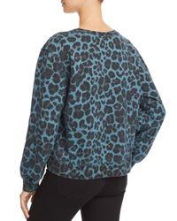 Pam & Gela - Blue Leopard Print Asymmetric Sweatshirt - Lyst