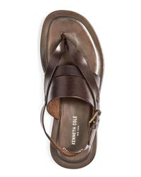 Kenneth Cole - Brown Men's Reel-ist Leather Thong Sandals for Men - Lyst