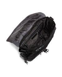 John Varvatos - Black Suede And Ballistic Nylon Messenger Bag for Men - Lyst