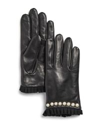 Echo - Black Embellished Pleated - Trim Leather Gloves - Lyst