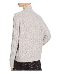 Vince - Gray Cable-knit Mock-neck Sweater - Lyst